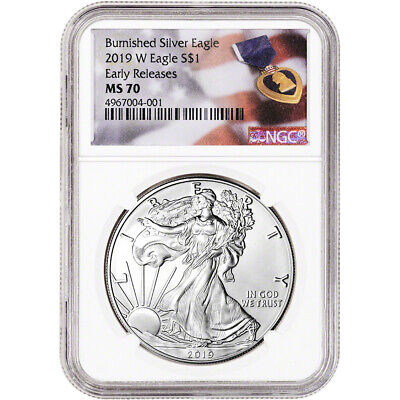 2019-W American Silver Eagle Burnished - NGC MS70 Early Releases Purple Heart