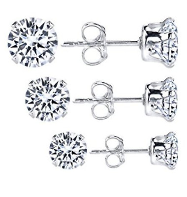 Sterling Silver Set of 3 Pairs of Earrings .925  Round CZ Studs 3.0 mm NEW