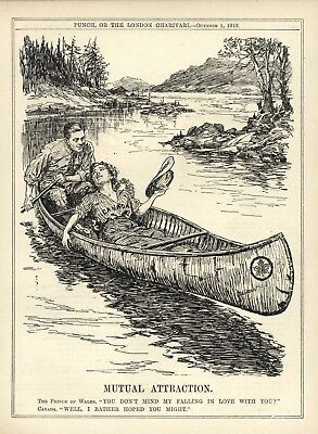 "1919 Punch Cartoon - Prince Of Wales /Edward Viii & Canada - ""Mutual Attraction"""