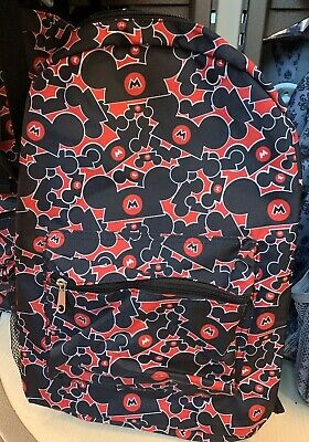 Disney Parks Adult Sized Backpack Black & Red Mickey Ear Hats NWT