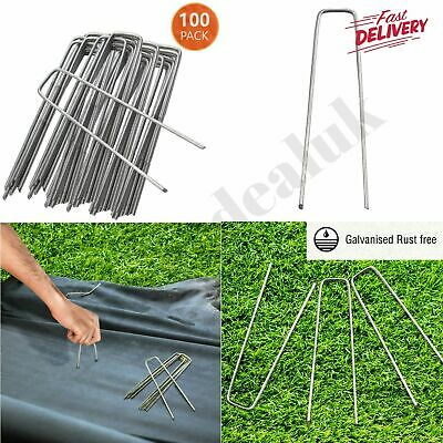 Garden Membrane Pegs Weed Control Ground Anchor Heavy Duty U Pins Fabric Netting