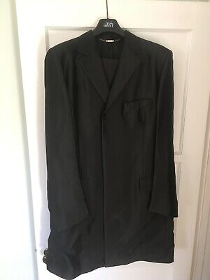Versace Suit Men's black extra long coat style Tall guy owned