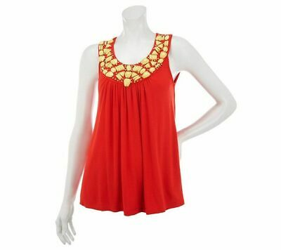 M by Marc Bouwer Red Embellished Sleeveless Tunic Top XS