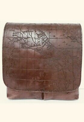 Patricia Nash GRANADA Vintage Leather Laser Map Rust Crossbody Bag  $129.00