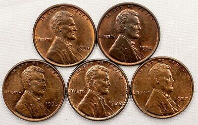 Lot of 5 Lincoln Wheat Cent - 1934/35/36/37/38 Date Run - Gem Uncirculated - 1c