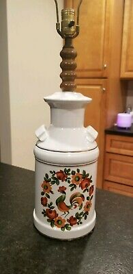 Vintage Rooster Folk Art Milk Can Table Lamp Chicken Light Fixture Hand Painted