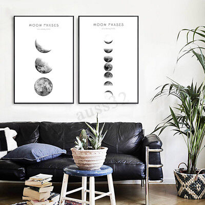 New Modern Abstract Moon Phases Canvas Print Painting Picture Wall Hanging