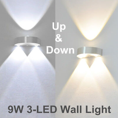 9W 3 LED Wall Light Up Down Lamp Modern Sconce Lighting Home Bedroom Fixtures