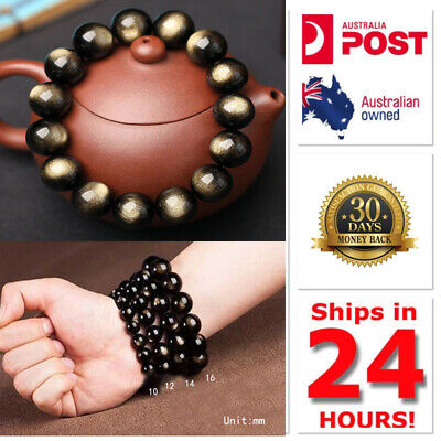 8mm-16mm Gold Obsidian And Tiger Eye Stone Chakra Bracelet Natural Healing Bead