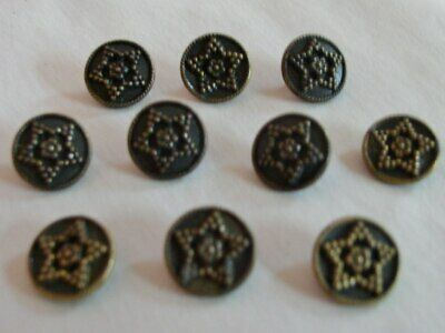 VINTAGE BUTTONS SET OF 12 ANTIQUE STAR SILVER METAL TUZ2805