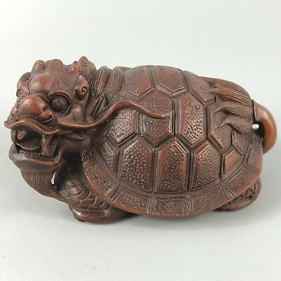 Collectible Chinese Old Boxwood Carved Longevity Dragon Turtle Ornament Statue