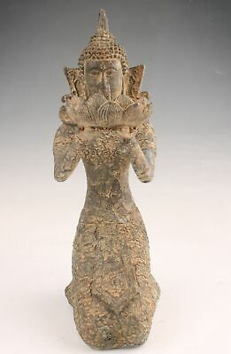 Rare Chinese Bronze Hand-Carved Bodhisattva Statue Old Collection Decorative