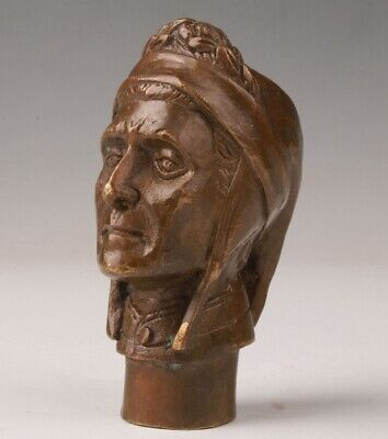 Chinese Bronze Hand Casting Indian Walking Stick Head Gift Collection Handle