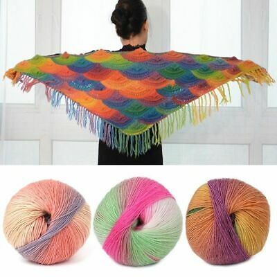 Crochet Cotton Cashmere Wool Blend Yarn Knitting Hand-woven Rainbow Colorful