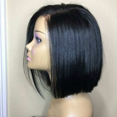 100% Remy Human Hair Wig Long Bob Straight 8inch Natural Lace Front Hair Wigs