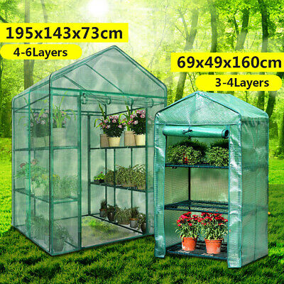 3 4 Tier Mini Greenhouse Green Cover Walk In Grow Green House PVC Cover Plastic