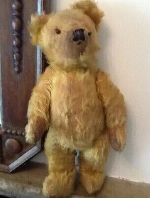OLD VINTAGE TEDDY BEAR STRAW FILLED WELL LOVED MOHAIR ANTIQUE JOINTED Odd Eyes