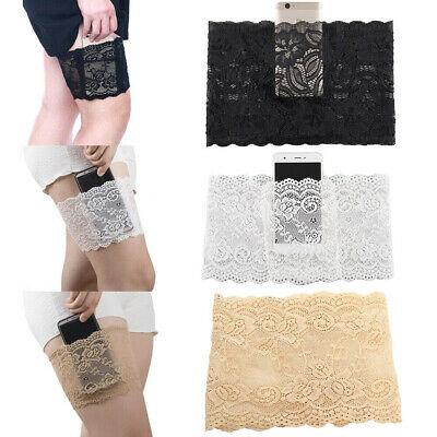 Women Skirt Anti Chafing Lace Thigh Garter Elastic Socks with Cellphone Pocket