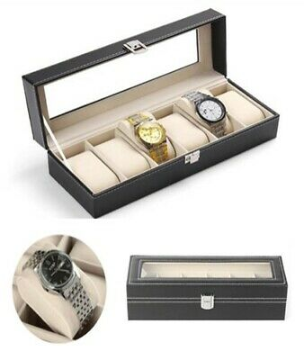 6 Grids Faux Leather Watch Case Display Box Jewellery Storage Visible Glass Top