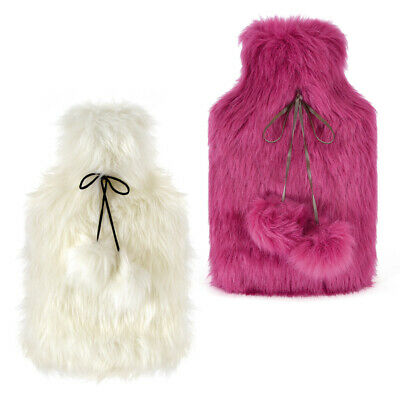 Kids Large Quality Super Soft Faux Fur Covered Natural Rubber Hot Water Bottle