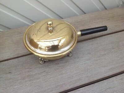 Vintage Small Lidded Footed Brass pan