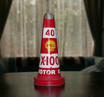 Genuine Old NOS Shell Motor Oil Bottle Tin Top #2 40-X100