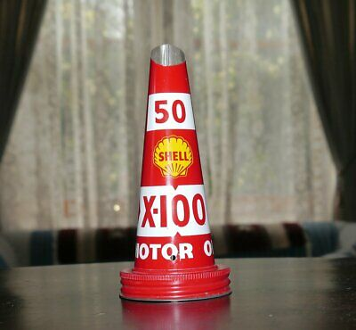 Genuine Old NOS Shell Motor Oil Bottle Tin Top #4 50-X100