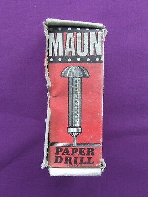 Old MAUN PAPER CARD PLASTIC LEATHER DRILL No.1010 size 006 Boxed Made in England