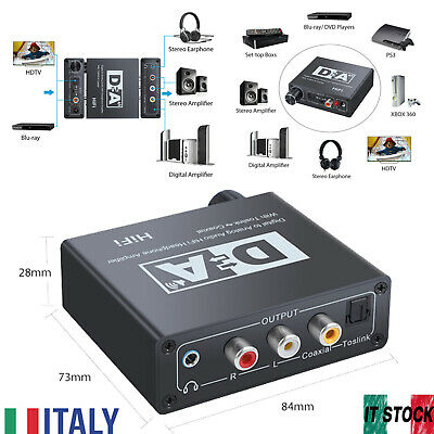 Digitale ad Analogico Convertitore Adattatore Audio Coaxial Toslink 3.5 mm Jack