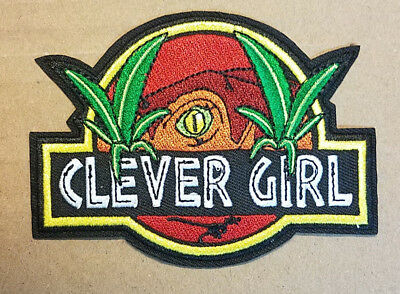Jurassic Park Logo Clever Girl Raptor Eye embroidered Patch 4 inches wide