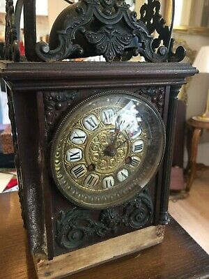 Antique  Clock wooden  Domed Lantern Carriage  running