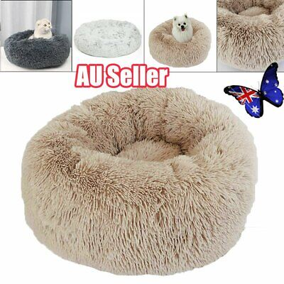 Pet Calming Bed Round Nest Warm Soft Plush Comfortable Free  & Fast shipping  AU