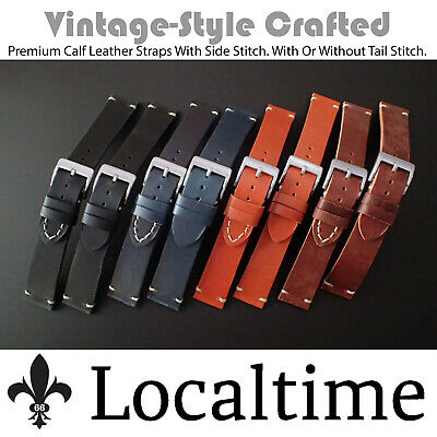 Premium Crafted Calf Leather Vintage-Style Watch Straps Side-Stitch 18-20-22mm