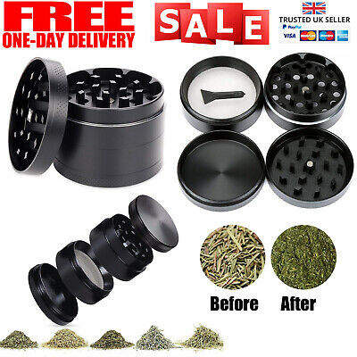 4-Piece Herb Grinder Spice Tobacco Smoke Metal 40 mm Crusher Leaf Design UK