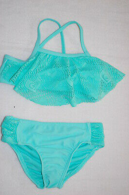 066acc7efd7 Toddler Girls Swimsuit AQUA MINT BIKINI SET Ruffle Top CROCHET NET Hearts  SZ 3T