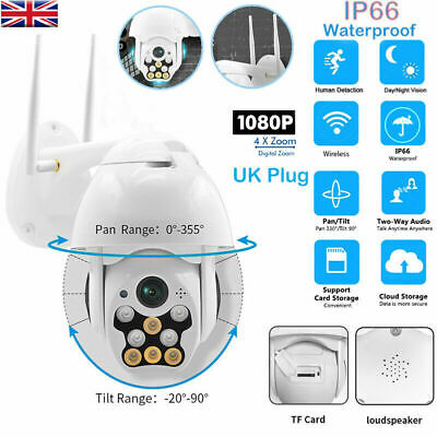 1080P WIFI IP Camera HD CCTV 8 LED Wireless Home Security IR Outdoor Cam 360° UK