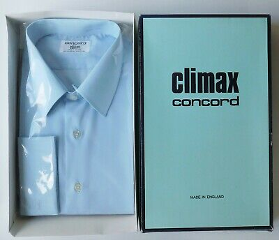 Climax Concord mens blue shirt long sleeved vintage 1970s collar size 17 UNUSED