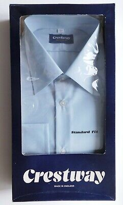 Crestway long sleeved mens shirt vintage 1970s 1980s collar size 17 UNUSED blue