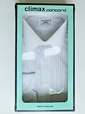 Climax Concord mens shirt grey stripes vintage 1970s 1980s collar size 17 UNUSED
