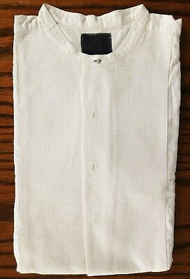 Cecil Gee collarless tunic shirt size 16 waffle Marcella vintage 1950s REPAIRED