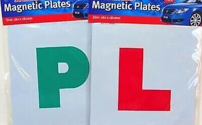 4pc Magnetic /'L/' /& /'P/' Plates for Learner and New Car//Bike Drivers