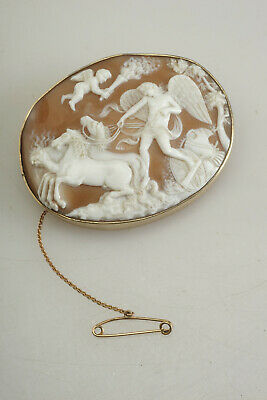 Best Huge Antique Victorian Carved Shell CAMEO Pin Brooch w/Cherubs Horses Etc.