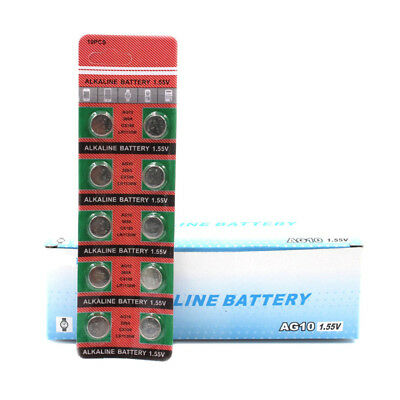10Pcs 1.55V AG10 389A LR1130W Alkaline Battery Watch Toys Coin Cell Button ht