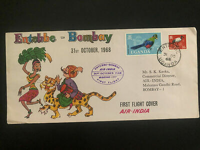 1968 Entebbe Uganda Airmail First Fight cover FFC to Bomabay India Air India