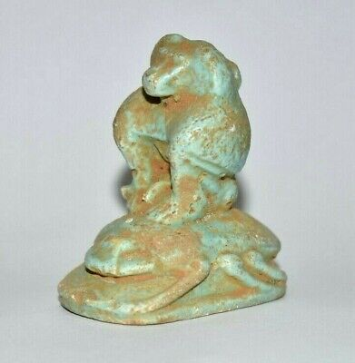 ANCIENT EGYPT ANTIQUE Egyptian blue faience Baboon amulet