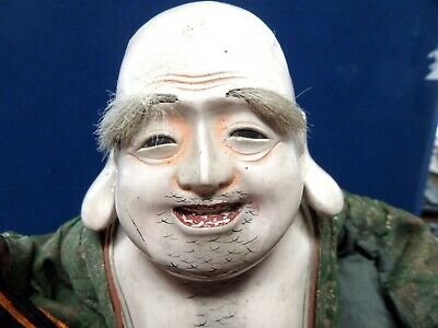 Antique Asian Warrior Hotei Doll 180/200 Years Old Coa Shogun Antiques Rare