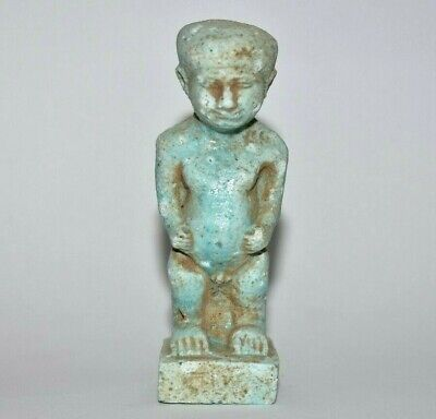 ANCIENT EGYPT ANTIQUE Egyptian blue faience PATAIKOS amulet  1075 - 600 B.C