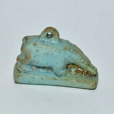 ANCIENT EGYPT ANTIQUE Egyptian blue faience Hippo amulet 1075 - 600BC