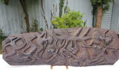 """Large 25"""" Tall African Makonde Tree Of Life Carved Wood Sculpture / Wall Hanging"""