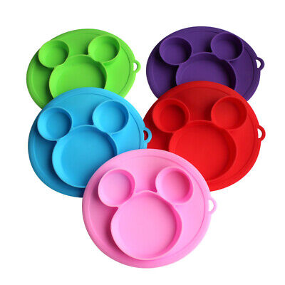 Mickey Silicone Happy Baby Kids Suction Table Food Tray Placemat Plate Bowl Mat
